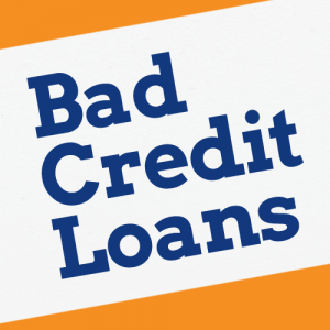 Bad credit loans written diagonally in navy blue on a white background - cheap loans