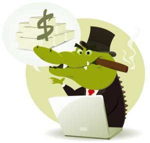 Illustration of a funny cartoon Crocodile Bankster Crook money trader buying and selling and promising lot of money